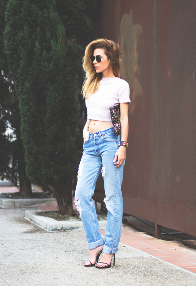 White Crop Top with Destroyed Jeans