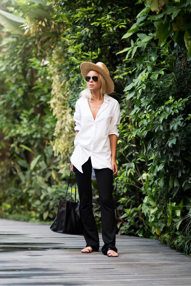 White Shirt with Flared Jeans