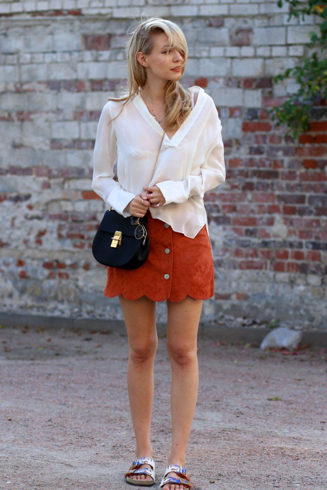White Shirt with Suede Mini Skirt