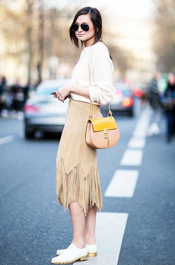 White Sweater with Suede Fringe Skirt
