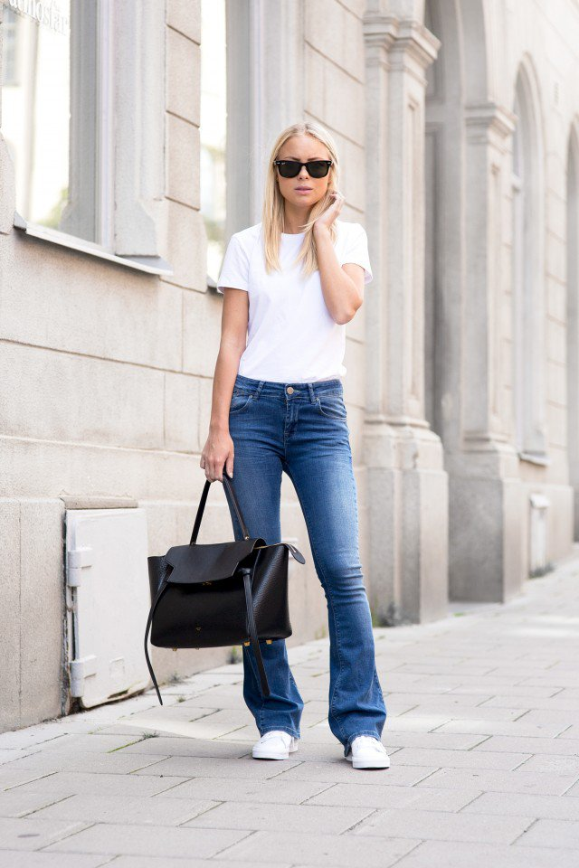 White Top with Flared Jeans
