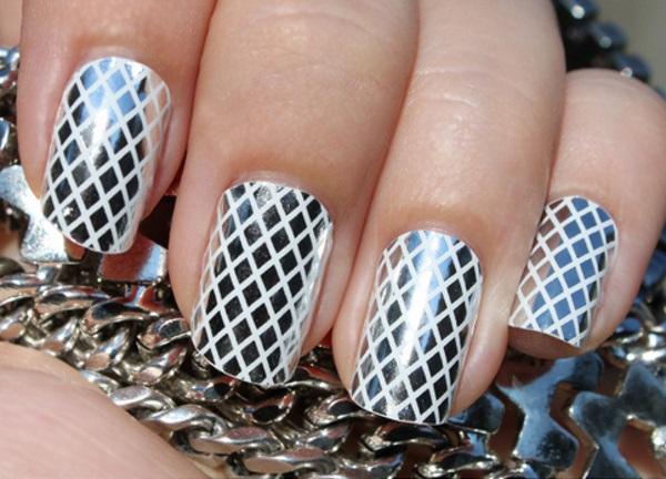 White and Silver Fishnet Nail Design