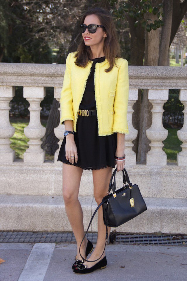 Yellow Blazer with Black Skirt