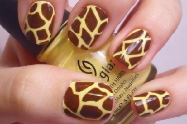 Yellow and Brown Giraffe Nails