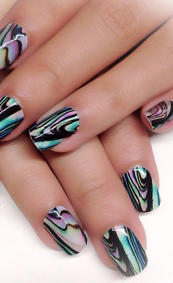 Abstract Water Marble Nail Design