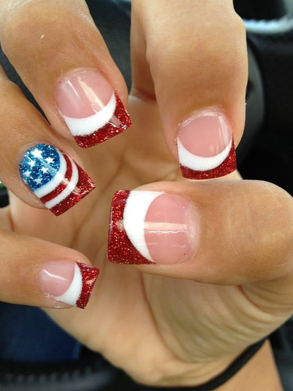 American Flag French Manicure Idea