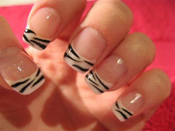 Animal Print French Manicure Idea