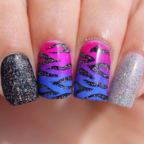 Animal Print Glitter Nail Design