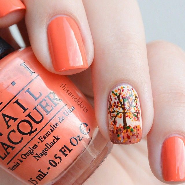 Autumn Tree Nail Art - 25 Pretty Nail Art For Fall - Pretty Designs