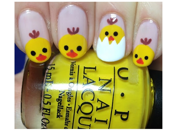 Baby Chick Easter Nail Design