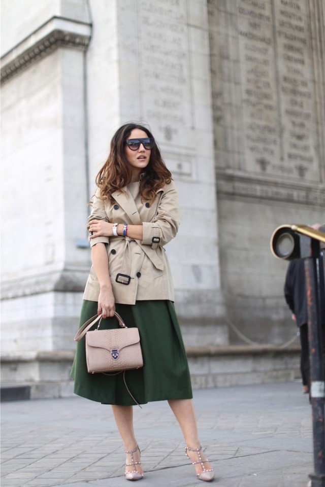 Beige Trench Coat with Knee Length Skirt