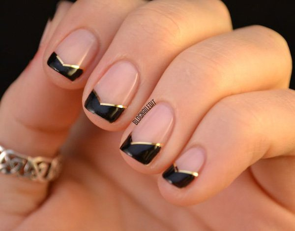 Black French Tip Nail Design