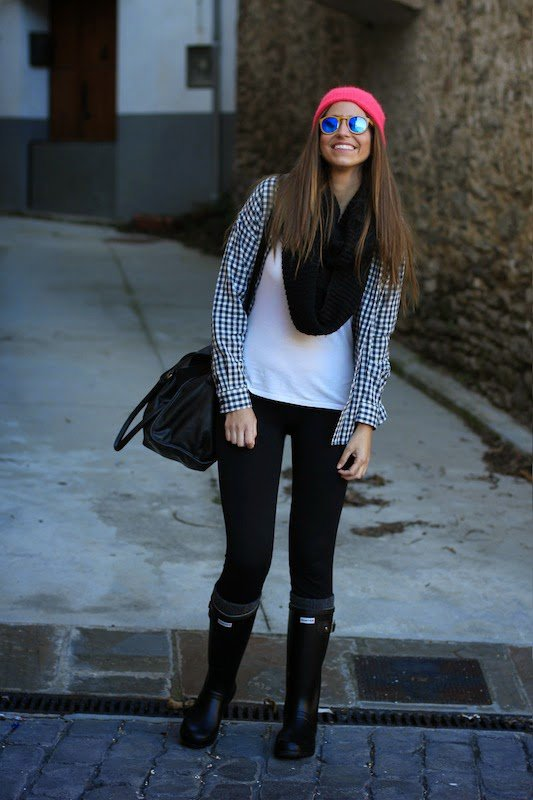 Black Rainy Boots with Plaid Shirt
