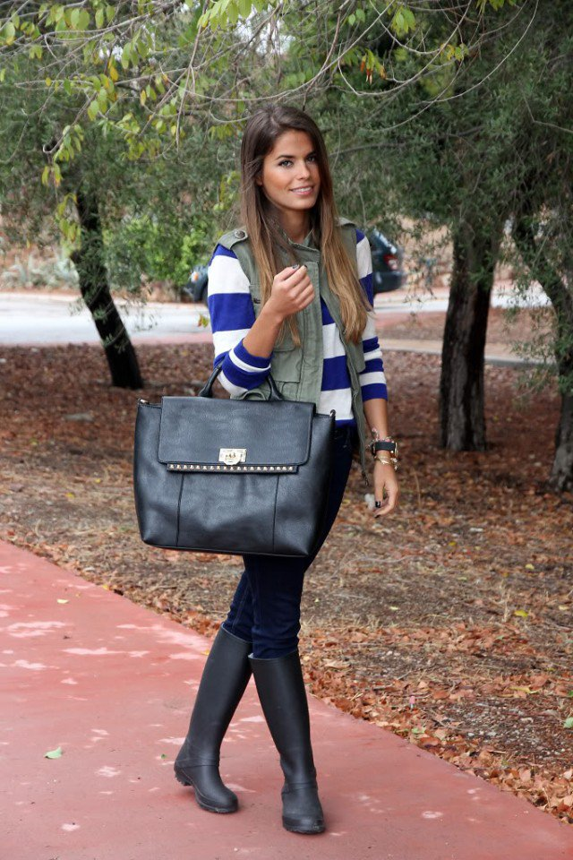 Black Rainy Boots with Striped Sweater
