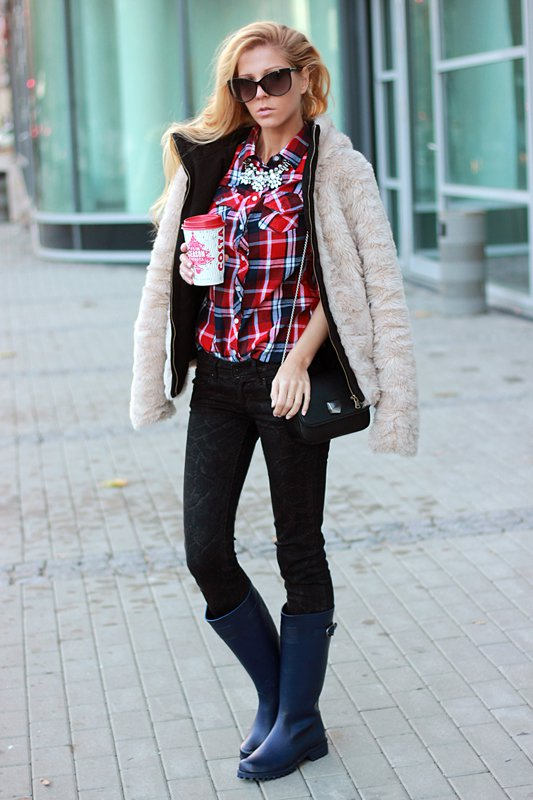 Black Rainy Boots with Tartan Shirt