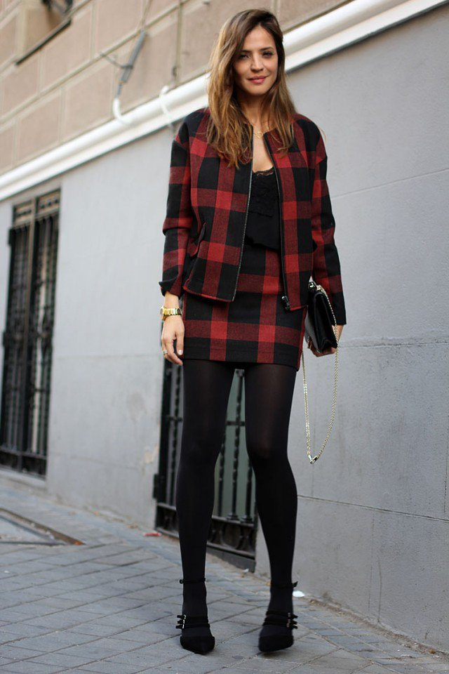 Black and Red Tartan Jacket and Skirt