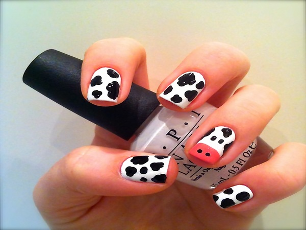 Black and White Cow Nail Design