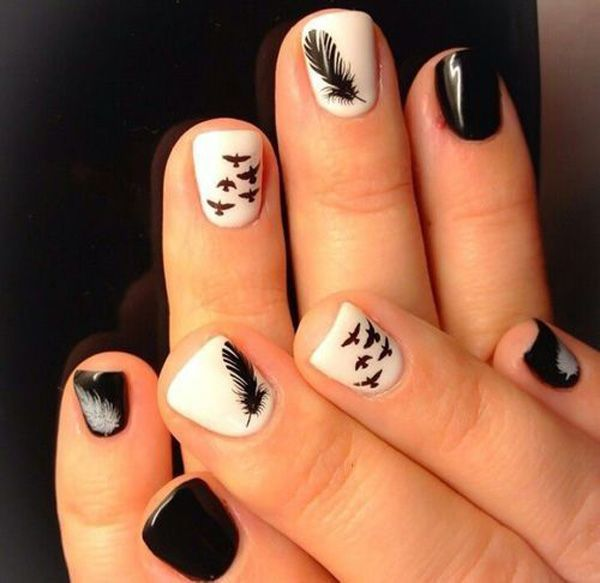 Black and White Feather Nail Design