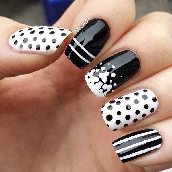 Black and White Polka Dot Nail Design - 22 Lovely Polka Dot Nail Designs For 2016 - Pretty Designs