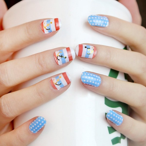 22 lovely polka dot nail designs for 2016 pretty designs blue anchore polka dot nail design prinsesfo Gallery
