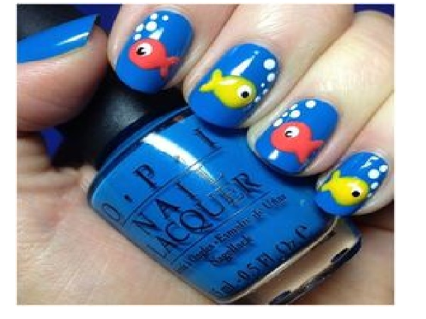 Blue Fish Nail Design - 12 Cute Animal Nail Art Designs - Pretty Designs