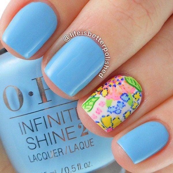 Blue Floral Nail Design For Short Nails