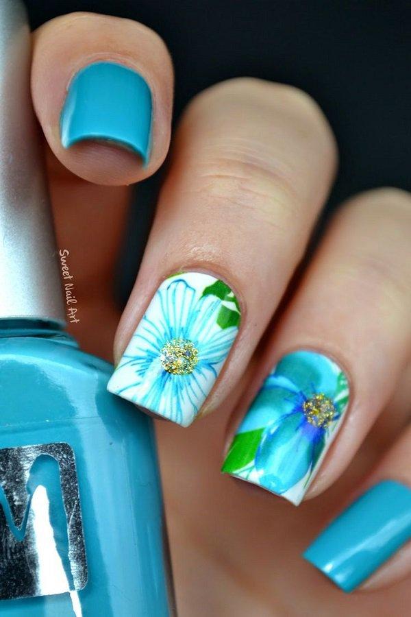 Blue Floral Nail Design