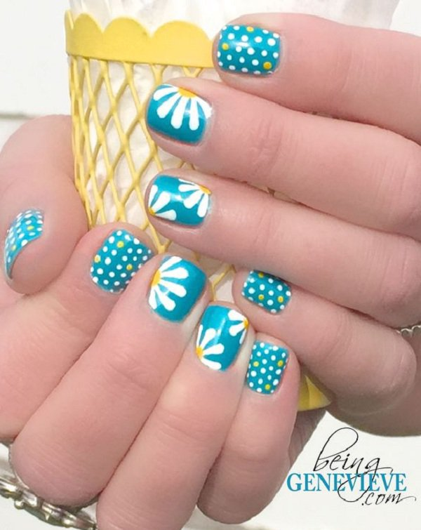Blue Flower Polka Dot Nail Design