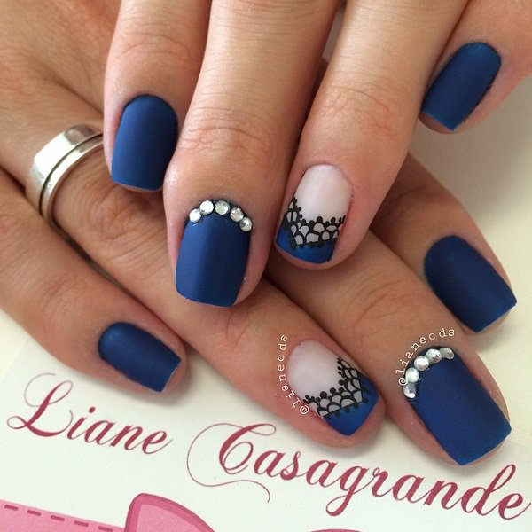 French manicure designs blue