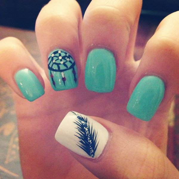 Blue Green Feather Nail Design