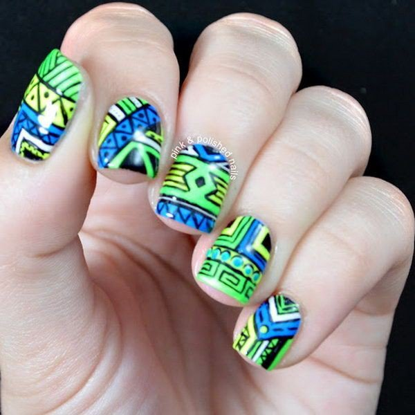 25 great tribal nail designs for 2016 pretty designs blue green tribal nail design prinsesfo Gallery