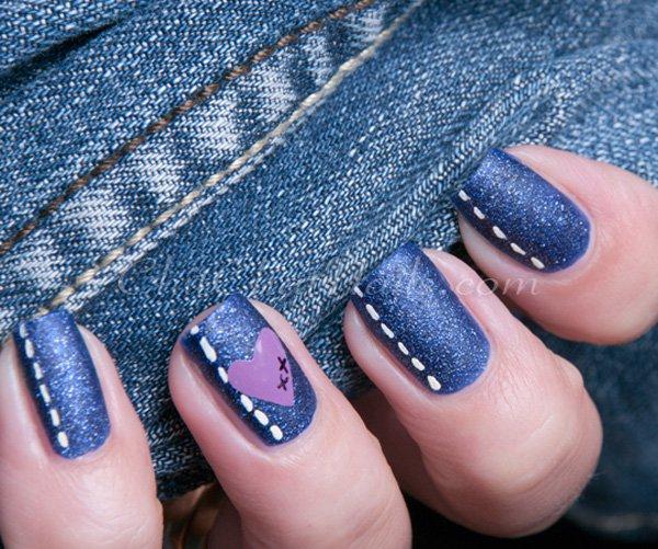 Blue Jeans Nail Design