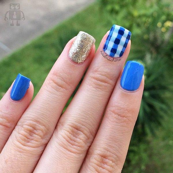 Blue Plaid Nail Design