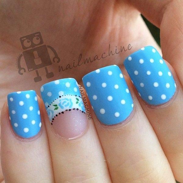 Blue Polka Dot Nail Design