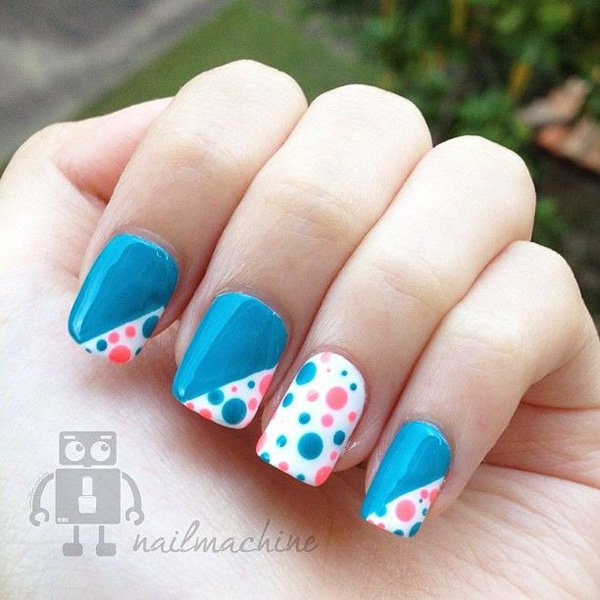 Blue Polka Dot Nail Design - 22 Lovely Polka Dot Nail Designs For 2016 - Pretty Designs