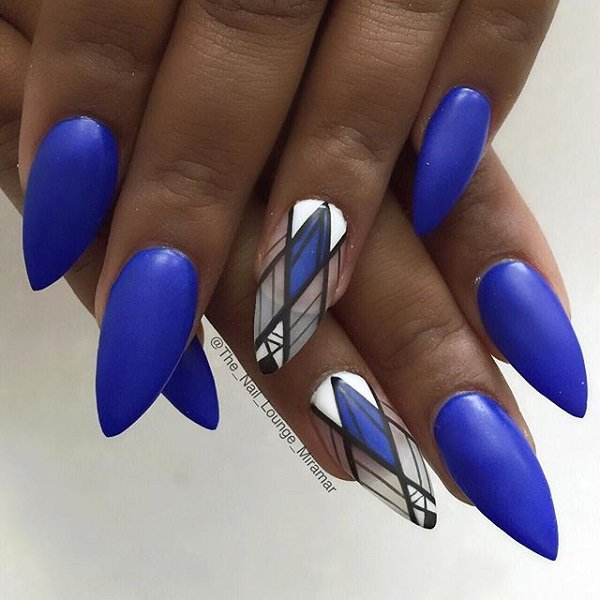 Blue Stiletto Nail Design - 29 Adorable Blue Nail Designs For 2018 - Pretty Designs
