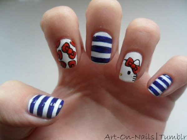 Blue Striped Hello Kitty Nail Design
