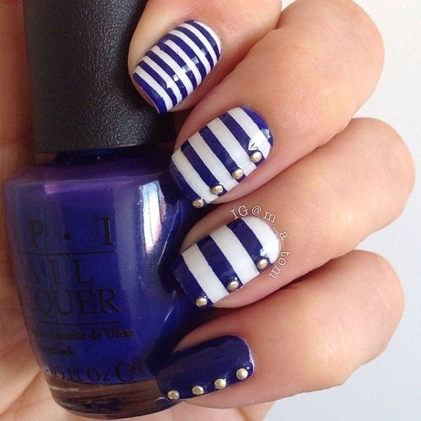 Blue Striped Nail Design