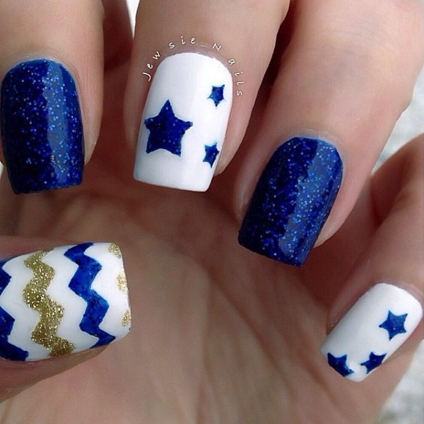 Blue Themed Nail Design