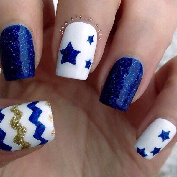 Blue Themed Nail Design