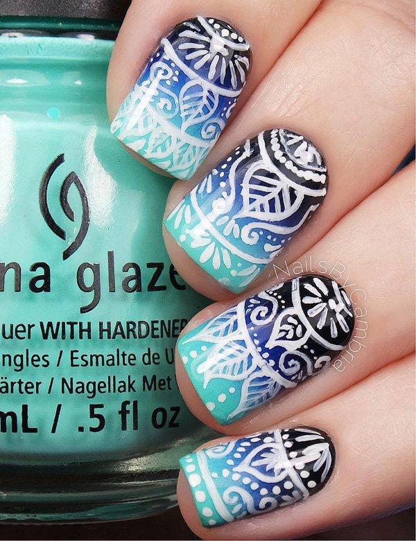 Blue Tribal Nail Design