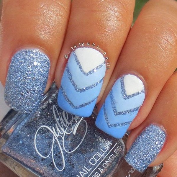 Blue V-Shaped Glitter Nail Design