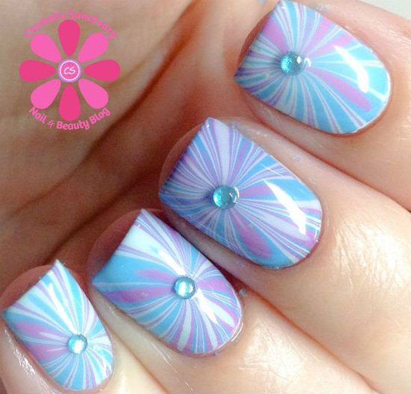 Blue Water Marble Nail Design