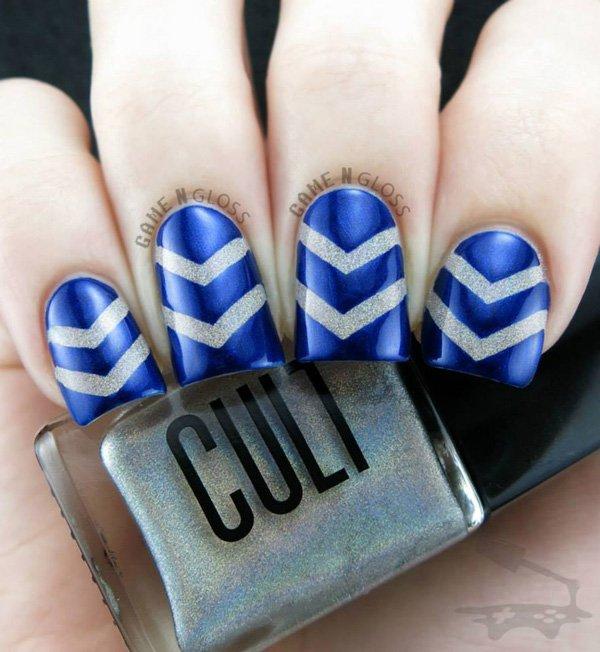 Blue Zigzag Nail Design