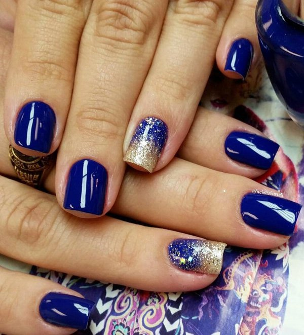 Blue and Gold Nail Design - 29 Adorable Blue Nail Designs For 2018 - Pretty Designs