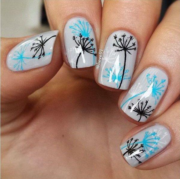 Blaue und graue Dandilion Nail Design
