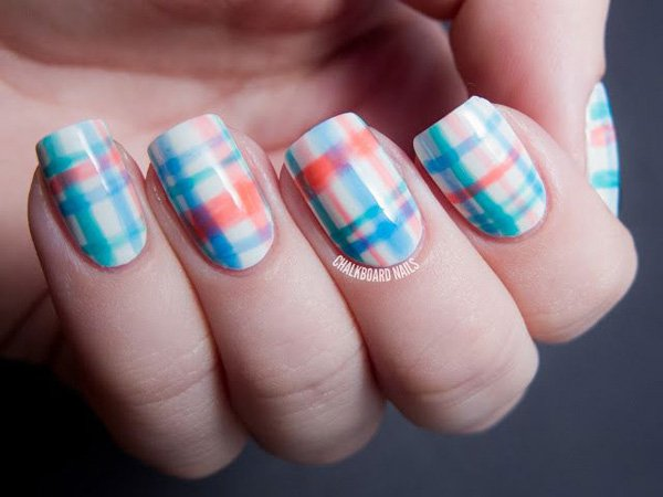 Blue and Orange Plaid Nail Design