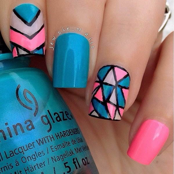 Blue and pink glitter nail design. View Images ... - Nail Design Blue And Pink ~ Blue And Pink Nail Art