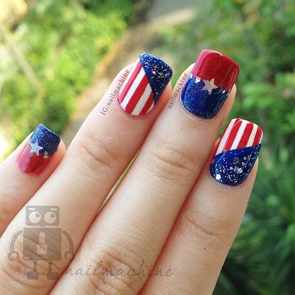 Blue and Red Nail Design