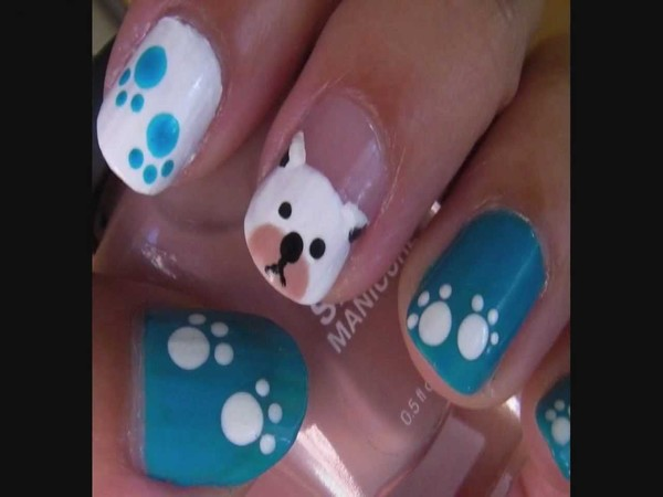 Blue and White Doggy Nail Design